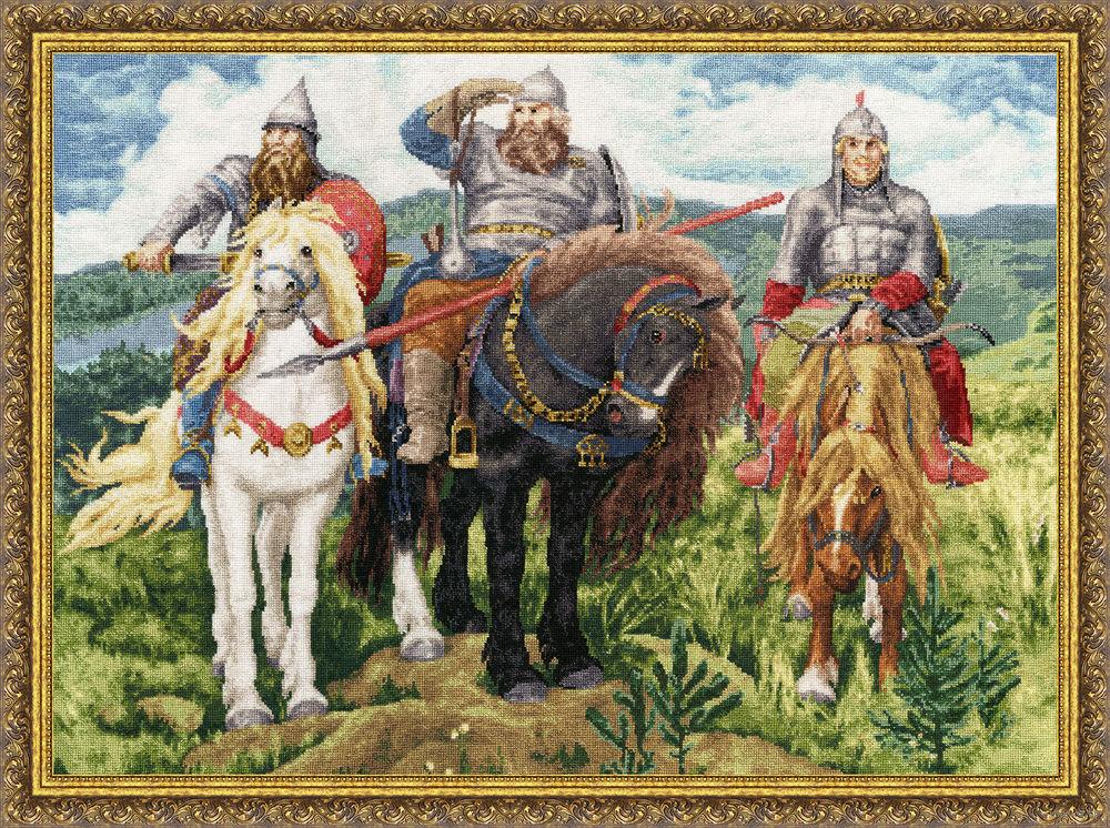 Три богатыря картина вышивка