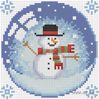 """Алмазная вышивка-мозаика """"Новогодний шарик со снеговиком"""""""