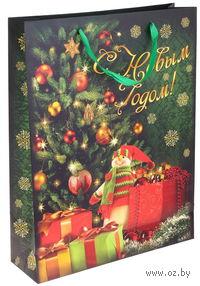 """Пакет бумажный подарочный """"С Новым годом!"""" (23х18х10 см; арт. 10444337)"""