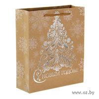 """Пакет бумажный подарочный """"Ажурная елка"""" (18х23х8 см; арт. 10908759)"""