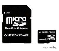Карта памяти micro SDHC 8Gb Silicon Power Class 6 (с адаптером SD)