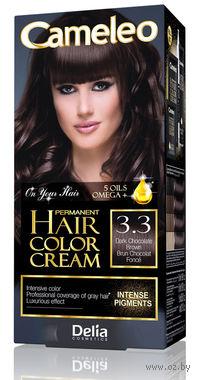 """Крем-краска для волос с маслом арганы """"Cameleo"""" 3.3 (шоколадный темно-коричневый)"""