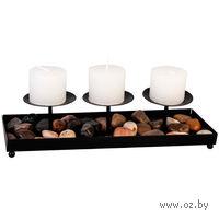 Подсвечник металлический (26*9 см) + 3 свечи (4*4,5 см) и камешки декоративные