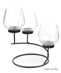 Набор подсвечников стеклянных, 3 шт (10*7 см) на металлической подставке (16*18 см) + 3 свечи (3,5 см)