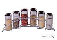 Набор баночек для специй, стеклянных, 6 шт. (90 мл) на металлической подставке (33*6 см)