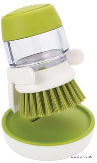 """Щетка для мытья посуды с дозатором моющего средства """"Palm Scrub"""" (бело-зеленая)"""
