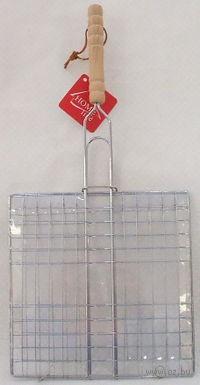 Решетка-гриль металлическая с деревянной ручкой, 57*35*33 см (арт. KL39C04)