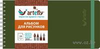 """Альбом для рисунков """"Artefly"""" (210х105 мм; твердая зеленая обложка)"""