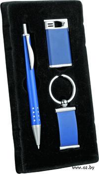 Набор. Ручка, брелок, зажигалка (синий)