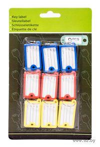 Набор брелоков для ключей пластмассовых с окошком для адреса (9 шт, 4,5*2,5 см, арт. 159600120)