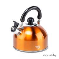 Чайник металлический со свистком и пластмассовой ручкой (2,5 л, арт. GS-0401BY-G)