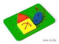"Развивающая игрушка ""Шнуровка. Пластина с 4-мя геометрическими фигурами"""