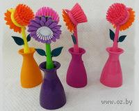 """Щетка для мытья посуды пластмассовая в подставке """"Цветок"""" (25 см, арт. JC1003AC/AP)"""