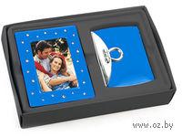 Набор. Рамка для фотографии со стразами, зеркало (синий)