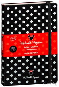 """Записная книжка Молескин """"Minnie Mouse"""" в линейку (большая; твердая черная обложка)"""