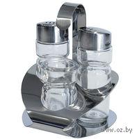 """Набор для специй """"Provence"""" стеклянный, 3 предмета на металлической подставке: солонка (50 мл), перечница (50 мл), баночка для зубочисток"""