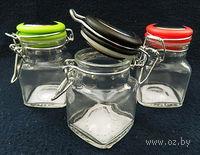 Банка для сыпучих продуктов стеклянная с клипсой (100 мл; 5,2х5,2х8 см)