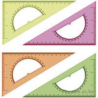 """Треугольник с транспортиром """"Neon Cristal"""" (16 см; 30 градусов; ассорти)"""