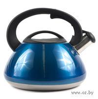 Чайник металлический со свистком и пластмассовой ручкой (3 л, арт. GS-0415-Blue)