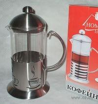 Кофейник с прессом, стекло/металл, 1000 мл (арт. YM-065/1000)