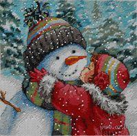 """Вышивка крестом """"Поцелуй для снеговика"""" (арт. DMS-70-08833)"""