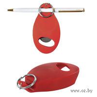 Открывалка с держателем для авторучки на магните (красный)