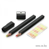 """Набор """"Молескин"""": точилка + 2 карандаша (желтый и оранжевый)"""