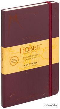 """Записная книжка Молескин """"The Hobbit"""" в линейку (большая; твердая бордовая обложка с бронзовым тиснением)"""