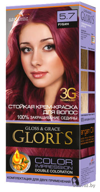 Крем-краска для волос (тон: 5.7, рубин, 2 шт)