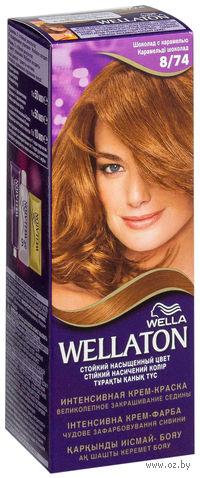 """Стойкая крем-краска для волос WELLATON """"8/74-Шоколад с карамелью"""""""