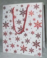 """Пакет бумажный подарочный """"Новогодний"""" (33*43*10 см, арт. XD-2712red-2)"""