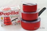 Набор контейнеров алюминиевых с антипригарным покрытием, с крышками и съемной ручкой, красные, 7 предметов (400/600/800 мл)