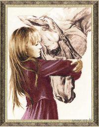 """Вышивка крестом """"Девочка с лошадью"""""""