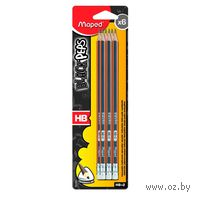 "Карандаши простые ""Black Peps"" с ластиком (HB; 6 шт.)"