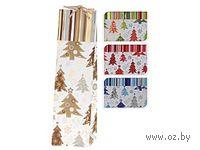 """Пакет бумажный подарочный для бутылки """"Новогодние деревья"""" (35*10*10 см)"""