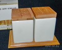 Набор для специй фарфор/бамбук (2 пр. 5*5*7, 5 см. на бамбуковой подставке, арт. 2640162)