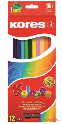 """Цветные карандаши """"KORES KOLORES"""" трехгранные (12 штук; + точилка)"""