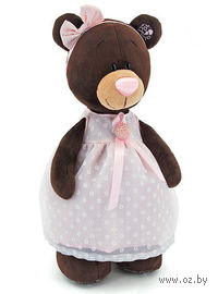 """Мягкая игрушка """"Медведь Milk в платье с брошью"""" (30 см)"""
