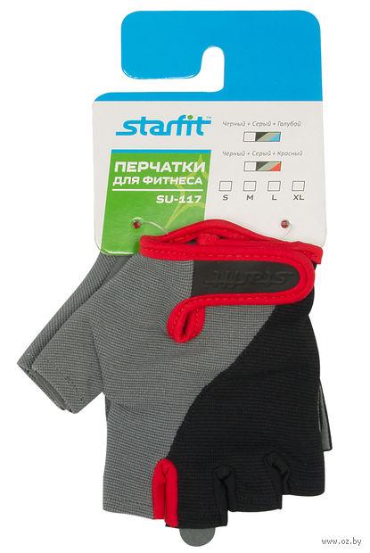 Перчатки для фитнеса SU-117 (XL; чёрные/серые/красные) — фото, картинка