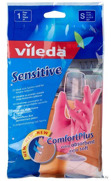 """Перчатки хозяйственные латексные """"Sensitive"""" (S; 1 пара) — фото, картинка"""
