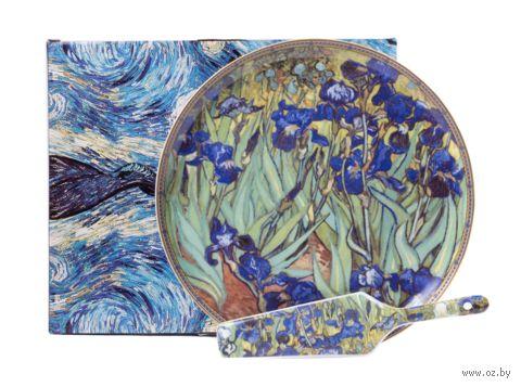 """Набор посуды для торта """"Ван Гог. Ирисы"""" (2 предмета) — фото, картинка"""