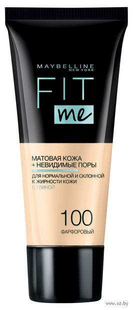 """Тональный крем для лица """"Fit Me"""" (тон: 100, фарфоровый) — фото, картинка"""