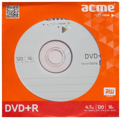 Диск DVD+R 4.7 Gb 16х Acme (бумажный конверт)