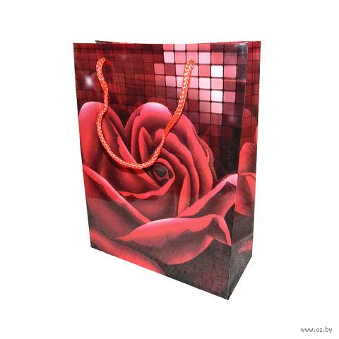 """Пакет пластиковый подарочный """"Роза"""" (34х26х9 см; арт. 10798809)"""