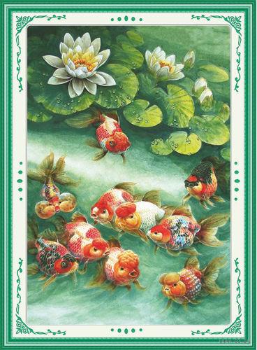 """Алмазная вышивка-мозаика """"Рыбки и кувшинки"""""""