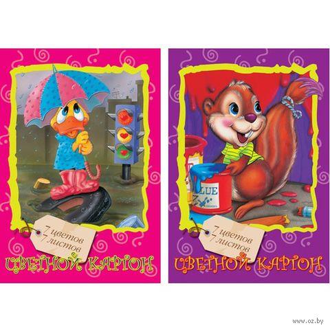 """Картон цветной """"Мультики"""" (А4; 7 листов; 7 цветов; в ассортименте) — фото, картинка"""