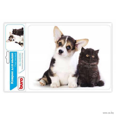 Коврик для мыши Buro BU-M40095 (рисунок/котенок и щенок) — фото, картинка