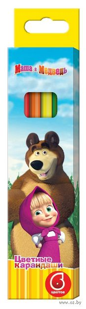 """Цветные карандаши """"Маша и Медведь"""" (6 цветов)"""