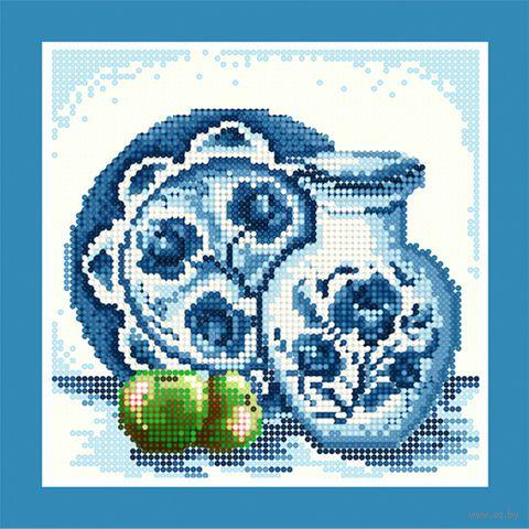 """Алмазная вышивка-мозаика """"Гжель. Зелёное яблоко"""" (250х250 мм) — фото, картинка"""