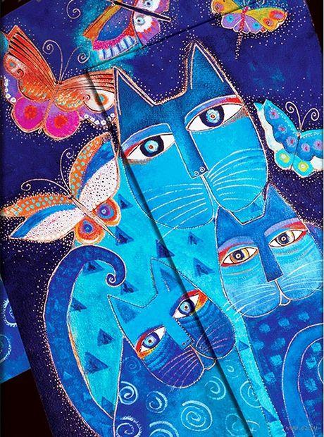 "Еженедельник Paperblanks ""Синие кошки и бабочки"" на 2016 год (формат: 130*180 мм, средний) — фото, картинка"
